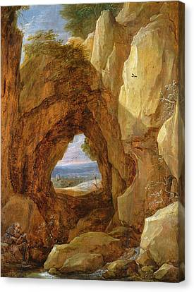Interior Of A Cave Oil On Canvas Canvas Print by David the Younger Teniers
