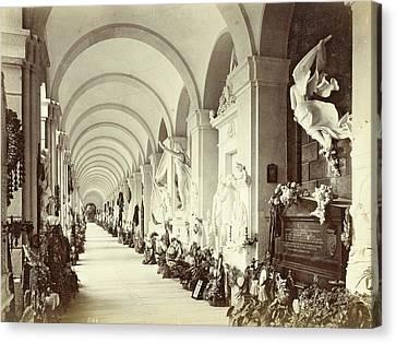 Interior Of A Gallery In The Cemetery Of Staglieno In Genoa Canvas Print by Artokoloro