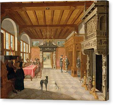 Caryatids Canvas Print - Interior Of A Hall With Figures, 1621 by Nicolaes de Gyselaer
