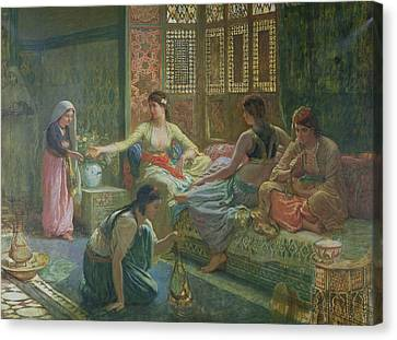 Interior Of A Harem Canvas Print by Leon-Auguste-Adolphe Belly