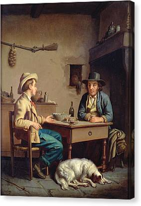 Interior Of A Peasants Cottage, C.1903  Canvas Print by Edouard Amable Onslow