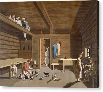 Interior Of A Russian Peasant Home Canvas Print