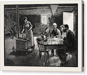 Interior Of A Settlers Cabin, Canada Canvas Print by Canadian School
