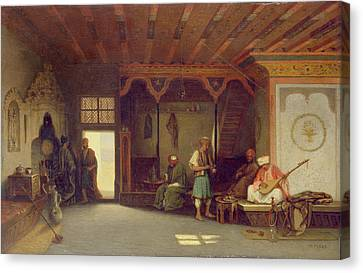 Interior Of An Oriental Cafe Oil On Panel Canvas Print by Charles Theodore Frere