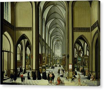 Interior Of Antwerp Cathedral Oil On Canvas Canvas Print
