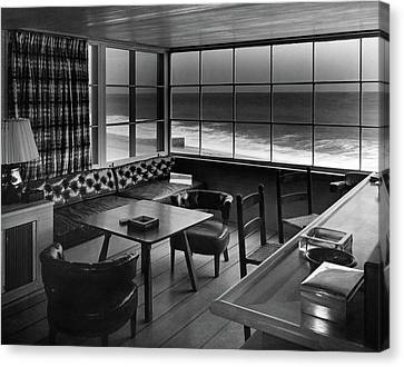 Interior Of Beach House Owned By Anatole Litvak Canvas Print