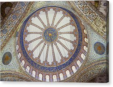 Medieval Temple Canvas Print - Interior Of Blue Mosque In Istanbul Turkey by Brandon Bourdages