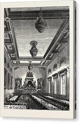 Interior Of Grocers Hall 1876 London Canvas Print by English School