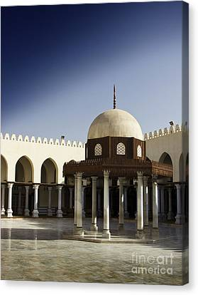 Canvas Print featuring the photograph Interior Of Islamic Mosque by Mohamed Elkhamisy
