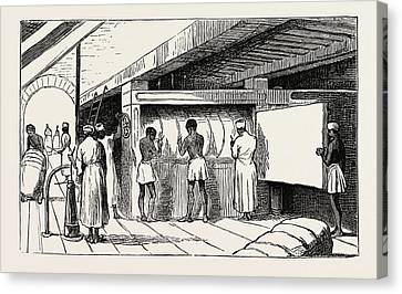Interior Of Shuna The Hydraulic Press, Banding The Bales Canvas Print by Egyptian School