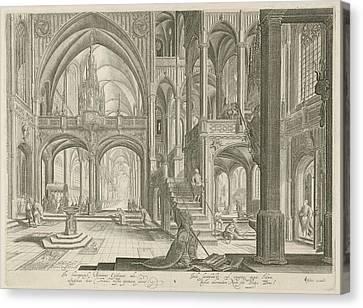 Interior Of St. John Lateran In Rome, Jan Van Londerseel Canvas Print by Jan Van Londerseel And Claes Jansz. Visscher (ii)