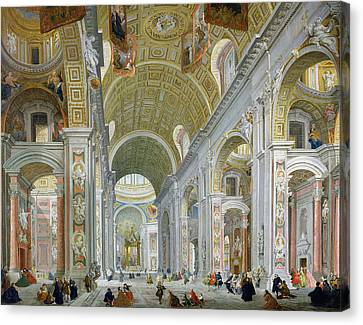 Interior Of St Peters In Rome Canvas Print by Giovanni Paolo Panini