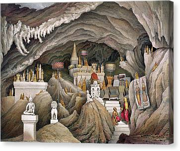 Interior Of The Grotto Of Nam Hou Canvas Print by Louis Delaporte