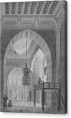 Interior Of The Mosque Of Kaid-bey Canvas Print by Pascal Xavier Coste