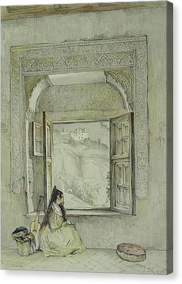 Female Figure Drawings Canvas Print - Interior Of The Palace At Madura by Thomas Daniell