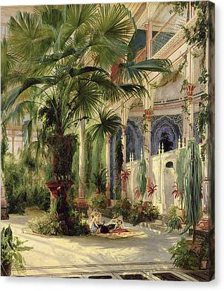Leave Canvas Print - Interior Of The Palm House At Potsdam by Karl Blechen