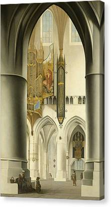 Interior Of The St. Bavo Church In Haarlem Canvas Print by Pieter Jansz Saenredam