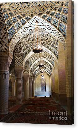 Interior Of The Winter Prayer Hall Of The Nazir Ul Mulk Mosque At Shiraz In Iran Canvas Print by Robert Preston
