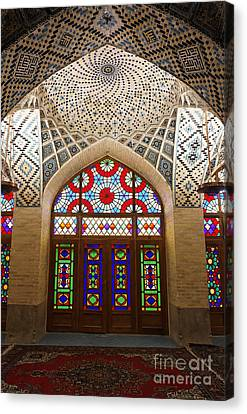 Interior Of The Winter Prayer Hall Of The Nazir Ul Mulk Mosque In Shiraz Iran Canvas Print by Robert Preston