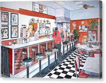 Interior Soda Fountain Canvas Print by Anthony Butera