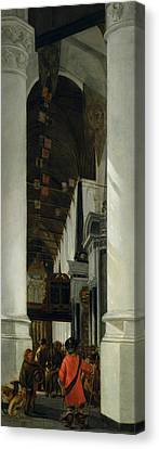 Interior View Of The New Church In Delft Canvas Print by Emanuel de Witte