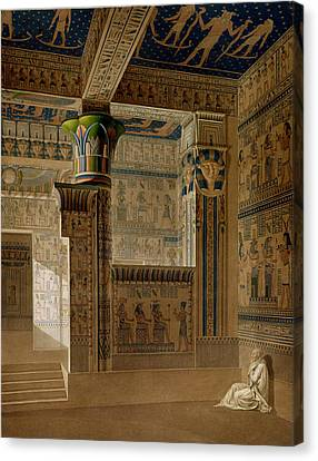 Hathor Canvas Print - Interior View Of The West Temple by Le Pere