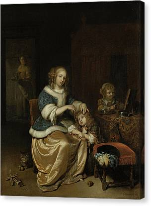 Interior With A Mother Combing Her Child's Hair Canvas Print by Litz Collection