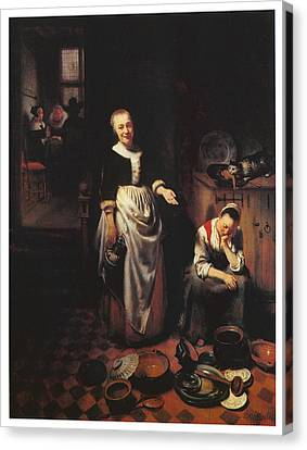 Interior With A Sleeping Maid And Her Mistress Canvas Print by Nicolaes Maes