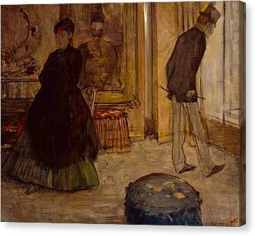 Interior With Two Figures Canvas Print by Edgar Degas