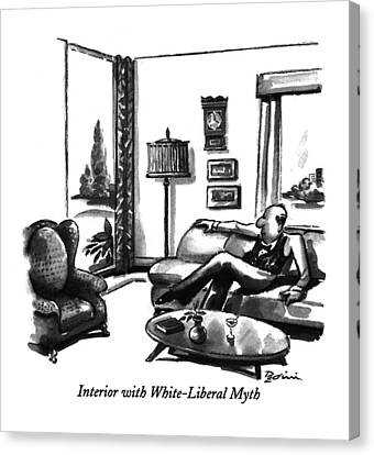 Corrected Canvas Print - Interior With White-liberal Myth by Eldon Dedini