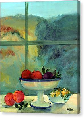 Interior With Window And Bowl Oil & Acrylic On Canvas Canvas Print by Marisa Leon
