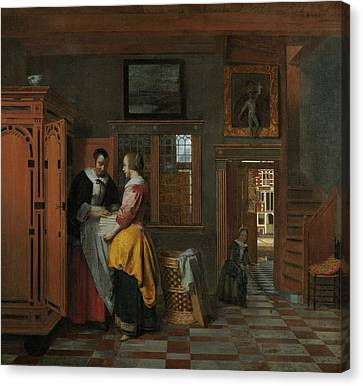 Interior With Women Inside A Linen Cupboard Canvas Print