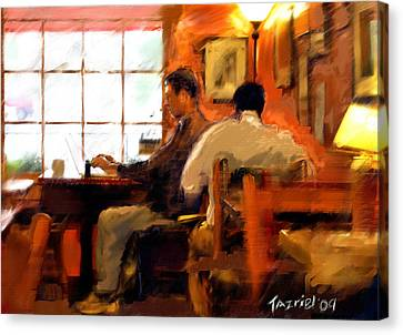 Internet Coffee House Canvas Print by Ted Azriel