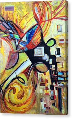 Canvas Print featuring the painting Intersections by Mary Schiros