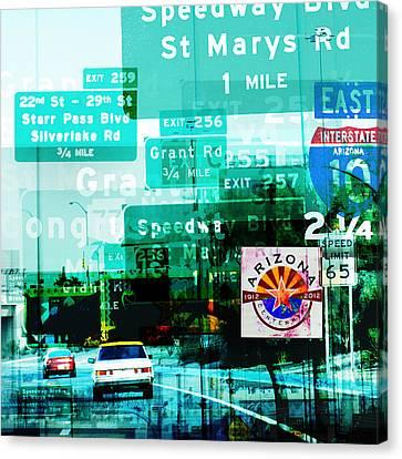 Interstate 10- Tucson Arrival Canvas Print by Arthur BRADford Klemmer