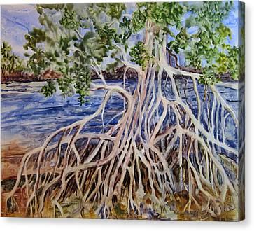 Canvas Print featuring the painting Intertwined by Roxanne Tobaison