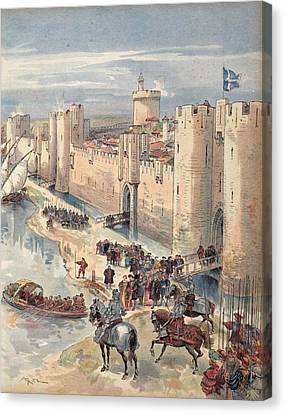 Interview Of Aigues-mortes Canvas Print by Albert Robida