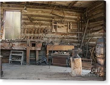 Interior Of Historic Pioneer Cabin Canvas Print by Juli Scalzi