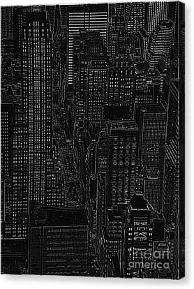 Into Nyc White On Black Canvas Print by Meandering Photography