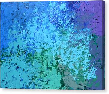 Canvas Print featuring the painting Into The Deep Blue Sea by Linda Bailey