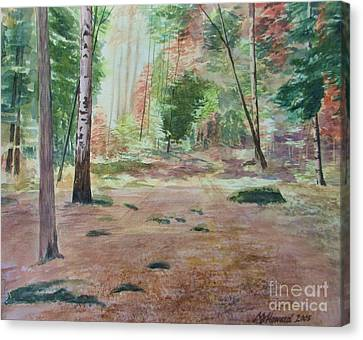 Canvas Print featuring the painting Into The Forest by Martin Howard