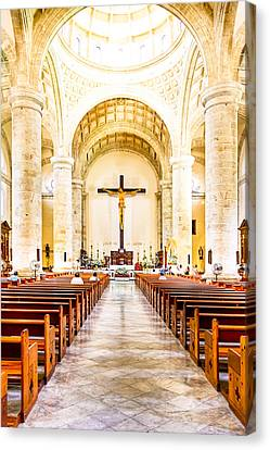 Into The Light At Merida Cathedral Canvas Print by Mark E Tisdale