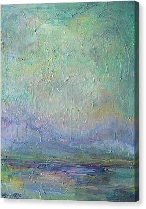 Canvas Print featuring the painting Into The Morning by Mary Wolf