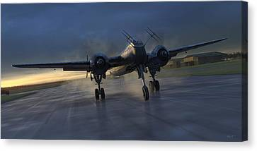 Fighter Canvas Print - Into The Night by Robert Perry