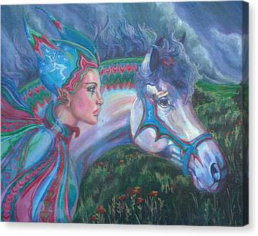 Canvas Print featuring the painting Into The Storm by Suzanne Silvir