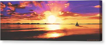 Canvas Print featuring the painting Into The Sunset by Sophia Schmierer