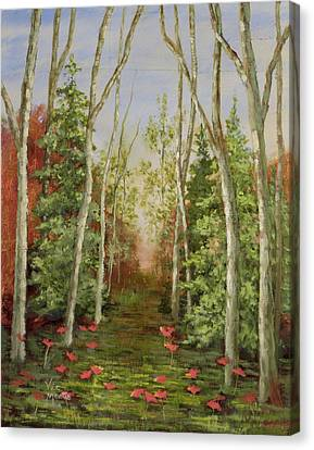 Canvas Print featuring the painting Into The Woods Series-cedar by Vic  Mastis