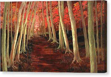 Canvas Print featuring the painting Into The Woods Series-orange by Vic  Mastis