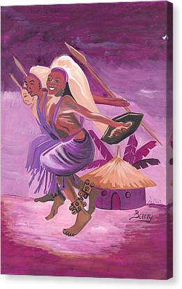 Canvas Print featuring the painting Intore Dance From Rwanda by Emmanuel Baliyanga