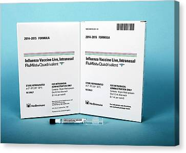 Intranasal Flumist Vaccine And Packaging Canvas Print by Cdc